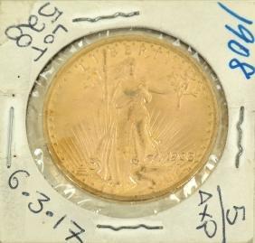 U.s.: Gold $20 Liberty Coin, 1908
