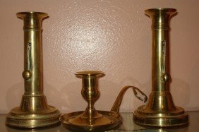 Pair Of English Brass Push-Up Candlesticks
