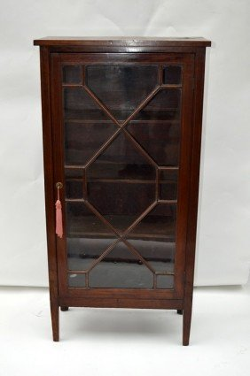 Inlaid One Door Mahogany Bookcase