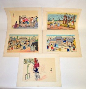 Group Of Japanese Mixed Media Genre Woodblock Prints