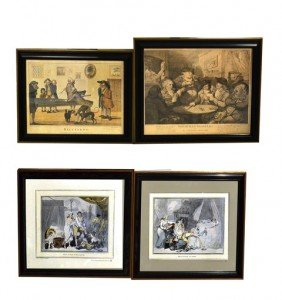 Group Of Four Reproduction 18th C. Prints