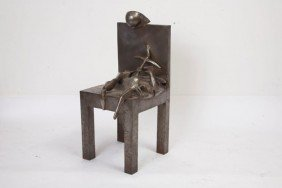 Magpantay Contemporary Steel Sculpture Of Chair