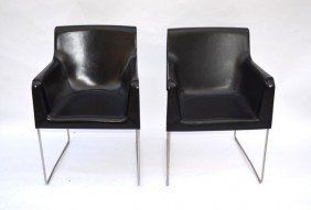 Pair Of Modern Black Leather Chairs