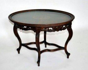 Inlaid Oval Coffee Table