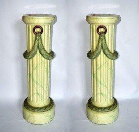 Pair Of Decorated Pedestals