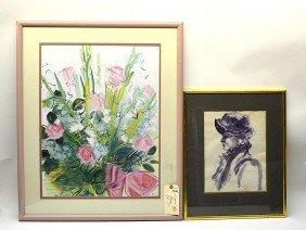 Watercolor Portrait, Woman & Raoul Dufy Print