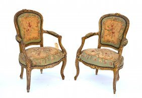Pair Of 19th C. Louis LXV-Style Open Arm Chairs