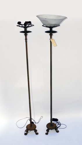 Pair Of Bronze 19th C. Charles X Torchieres