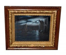 Bailey Oil On Canvas Moonlit Venetian Harbor Scene