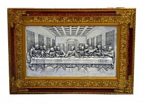 Portuguese Pewter Plaque, Last Supper