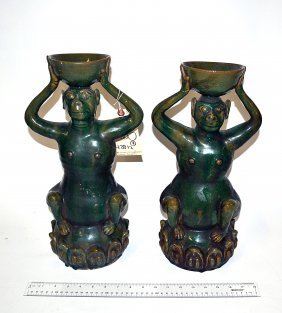 Pair Of Chinese Green Glazed Monkey Stands