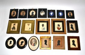 18 Miniature Portraits, Silhouettes, And Cameos