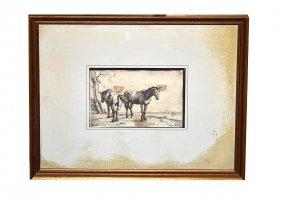 "Paulus Potter Etching ""The Plough Horses"""