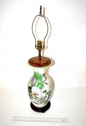 Chinese Ceramic Vase Mounted As Lamp