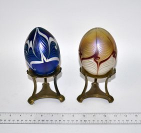 Two Iridescent Favrille Glass Eggs