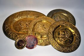Group Of Repouss� Brass And Copper Plaques