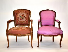 Two Louis XV Style Arm Chairs