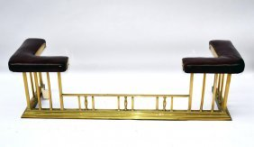 Brass & Leather Hearth Bench