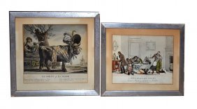 Two Framed French Satirical Prints