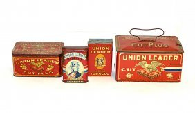 Eight Union Leader Tobacco Tins, Boxes, And Pouch