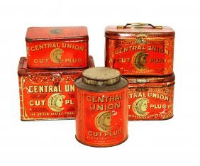 Five Central Union Tobacco Tins