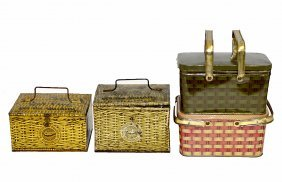 Four Lunch Pail-Type Tobacco Tins - Faux Wicker