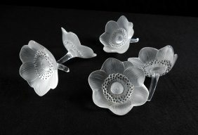 Five Lalique Crystal Poppies