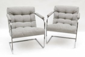 Pair Milo Baughman-style Chairs