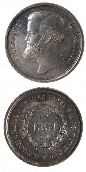 Brazil 1851 Dom Pedro Ii Silver Medal