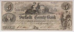 Suffolk Co. Bank 1850 $5 Obsolete Note