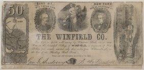 Winfield Co. C.1854 $50 Obsolete Note