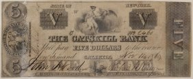 The Catskill Bank 1860 $5 Obsolete Note