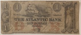 The Atlantic Bank 1862 $1 Obsolete Note
