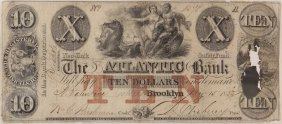 The Atlantic Bank 1855 $10 Obsolete Note