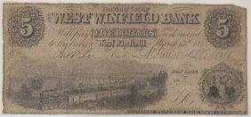 West Winfield Bank 1862 $5 Obsolete Note