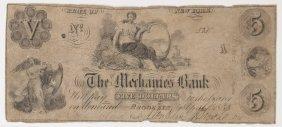 Mechanics Bank 1855 $5 Obsolete Note