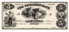 The Setauket Bank 1860 $5 Obsolete Note