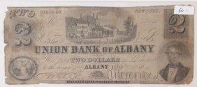 Union Bank Albany 1859 $2 Obsolete Note