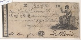 The Bank Of Troy 1814 $10 Obsolete Note
