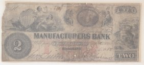 Manufacturers Bank 1858 $2 Obsolete Note