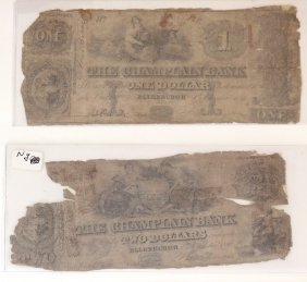 Champlain Bank 1846 $1&$2 Obsolete Notes