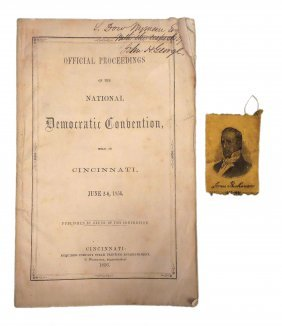 1856 Democratic Convention Pamphlet & Ribbon