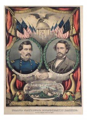 Mcclellan & Pendleton - 1864 National Democratic Banner