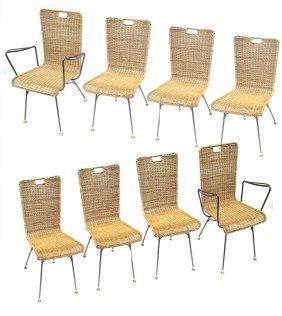 8 John Salterini Rattan Chairs