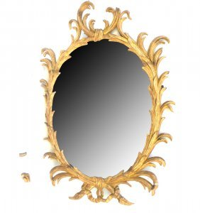 Oval Gesso And Wood Mirror