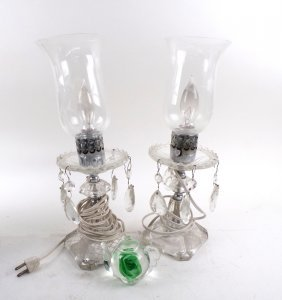 Two Hurricane Lamps And A Paperweight