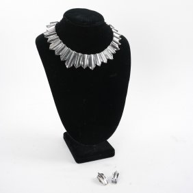 A. Pineda Chevron Necklace & Earrings