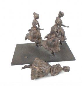 Bronze Sculpture, 4 Women, On Base