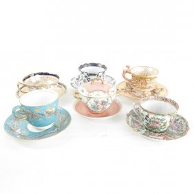 Porcelain Cups, Saucers And Covered Bowl