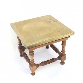 Wood & Brass Low Side Table